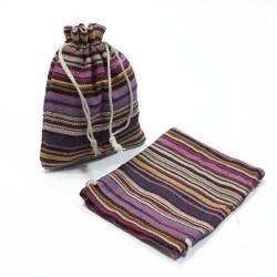 10 bourses en tissu coton à rayures violet 11x10cm - 5320