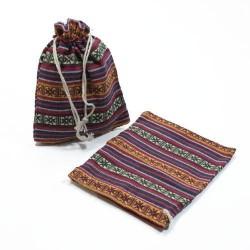 10 bourses en tissu coton à rayures multicolores, motifs croix 11x10cm - 5322