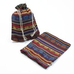 10 bourses en tissu coton multicolore à rayures et motifs fleurs 11x10cm - 5223