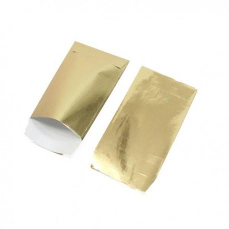 100 pochettes cadeaux papier 10x6cm couleur doré brillant - 5348