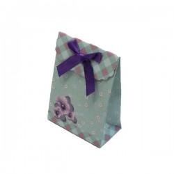 12 boîtes cadeaux de couleur vert tendre et rose motifs pensées 10.5x7.5x4cm - 5396