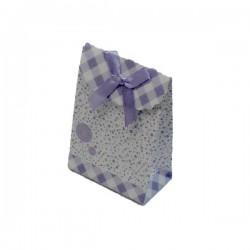 12 boîtes cadeaux de couleur mauve et blanc motifs petits pois 10.5x7.5x4cm - 5398