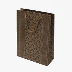 12 sacs cabas en papier kraft motifs fleurs et rayures 20x14.5x6cm - 5417