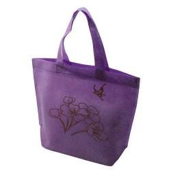 10 sacs cabas intissés avec soufflet de couleur mauve avec fleurs 26x10x30cm - 5473