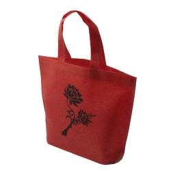 10 sacs cabas intissés avec soufflet de couleur rouge avec fleurs 26x10x30cm - 5474