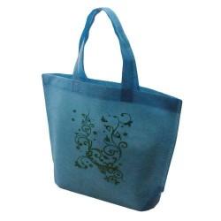 10 sacs cabas intissés avec soufflet de couleur bleu turquoise avec fleurs 26x10x30cm - 5476