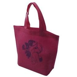 20 sacs cabas intissés avec soufflet de couleur rose avec fille 26x10x30cm - 5476