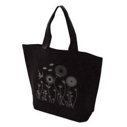 20 sacs cabas intissés avec soufflet de couleur noir avec fleurs 26x10x30cm - 5477