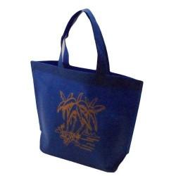 20 sacs cabas intissés avec soufflet de couleur bleu électrique avec palmiers 26x10x30cm - 5478