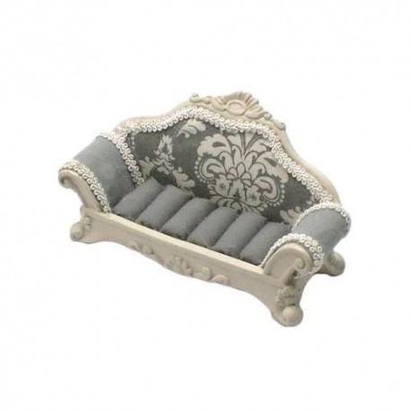 porte bijoux style canap gris fleurs pr sentoir bagues pas cher. Black Bedroom Furniture Sets. Home Design Ideas