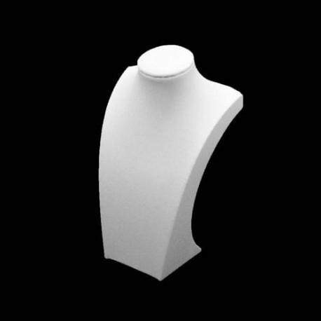 Buste bijoux collier en simili cuir blanc 25cm - 5531
