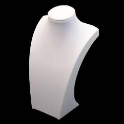 Buste pour collier en simili cuir blanc 35cm - 5541
