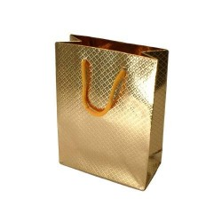 Lot de 12 sacs cadeaux brillant couleur doré 30x23x8cm - 5576