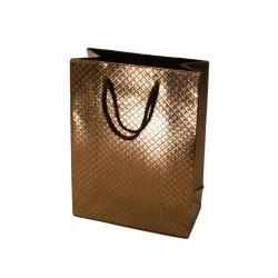 Lot de 12 sacs cadeaux brillants bronze à anses 35x28x9cm - 5587