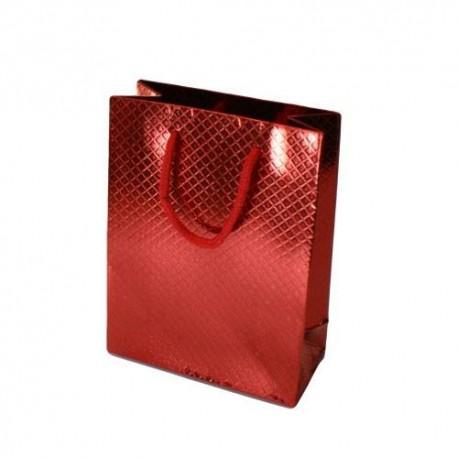 Lot de 12 sacs cadeaux brillants rouge à anses 35x28x9cm - 5586