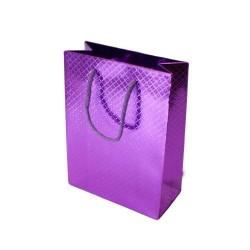 Lot de 12 sacs cadeaux brillants violet à anses 35x28x9cm - 5582
