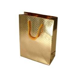 Lot de 12 sacs cadeaux brillants doré à anses 35x28x9cm - 5585