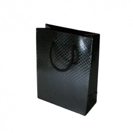 Lot de 12 sacs cadeaux brillants noirs à anses 35x28x9cm - 5583