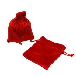 10 bourses cadeaux en velours de couleur rouge 8x7cm - 56300
