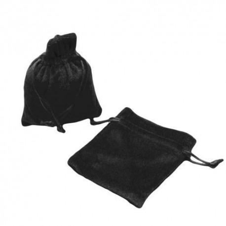 10 bourses cadeaux en velours de couleur noir 8x7cm - 5631