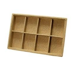 Présentoir bijoux en toile de jute à petits casiers - 5657