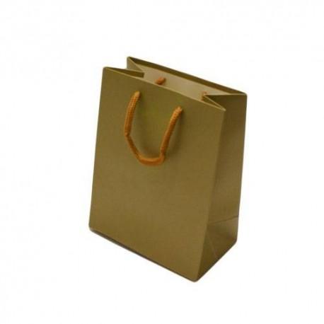 12 sacs cadeaux de couleur doré mat 14x8x18cm - 6524