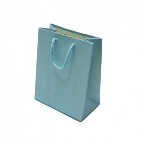Lot de 12 sacs cadeaux couleur bleu ciel 18x10x23cm - 5599