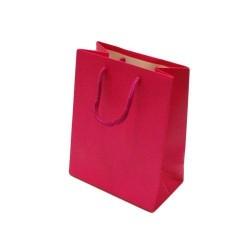 Lot de 12 sacs cadeaux couleur rose fuchsia 18x10x23cm - 5600