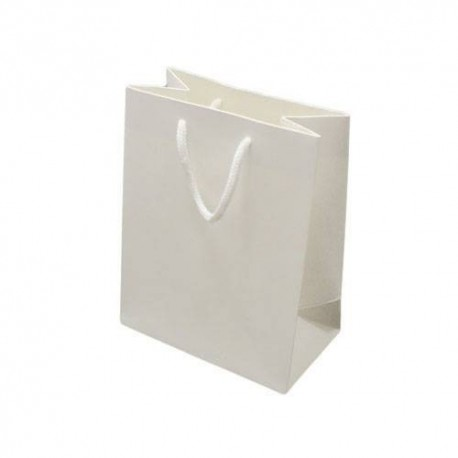 Lot de 12 sacs cadeaux couleur blanc 18x10x23cm - 6529