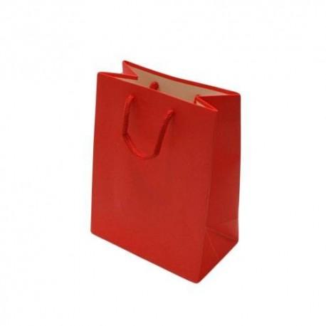 Lot de 12 sacs cadeaux couleur rouge vif 18x10x23cm - 6533