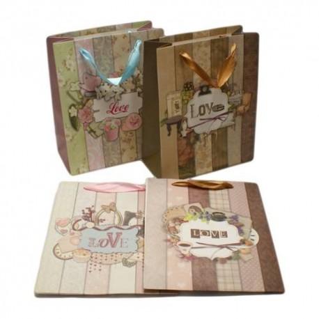 """12 sacs cadeaux inscription """"Love"""", motifs vintage 23x18.5x9.5cm - 5625"""