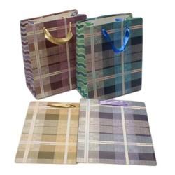12 sacs cadeaux motifs écossais couleurs bleu, violet, rose et beige 23x18.5x9.5cm - 5627