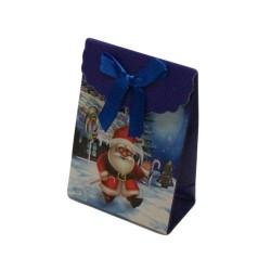 12 boîtes cadeaux de couleur bleu motifs Père Noël 10.5x7.5x4cm - 5748