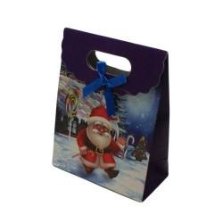 12 boîtes cadeaux couleur bleu avec motif Père Noël 16x12.5x6cm - 5749