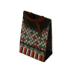 12 boîtes cadeaux de couleur noir motifs mosaïque colorée 10.5x7.5x4cm - 5776