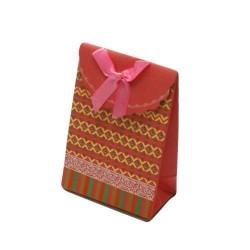 12 boîtes cadeaux de couleur rose et jaune motif éthnique 10.5x7.5x4cm - 5778