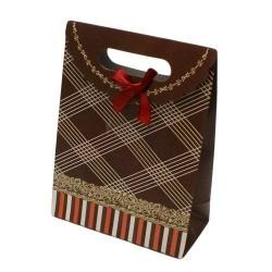 Lot de 12 boîtes cadeaux de couleur marron à rayures blanches 19x14.5x6.5cm - 5788