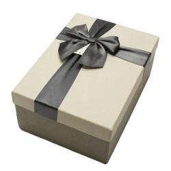 Boîte cadeaux bicolore gris perle et gris foncé 17x12x6.5cm - 5803p