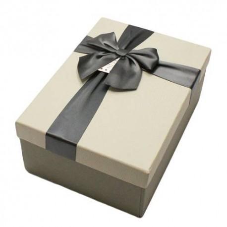 Boïte cadeaux gris perle et gris foncé avec noeud ruban 22x15x9cm - 5805g