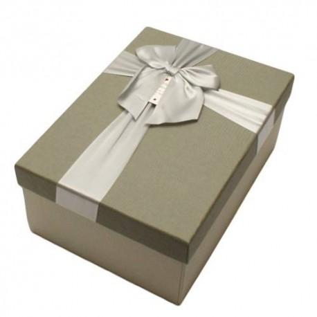 Boïte cadeaux gris clair et gris souris avec noeud ruban 22x15x9cm - 5808g