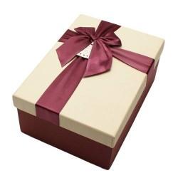 Boïte cadeaux rouge bordeaux et écru avec noeud ruban 22x15x9cm - 5811g