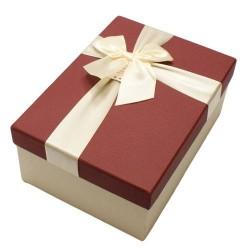 Boîte cadeaux rouge bordeaux et écru avec noeud ruban 22x15x9cm - 5814g