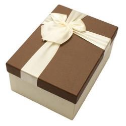Boîte cadeaux écru et marron avec noeud ruban 22x15x9cm - 5817g
