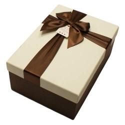 Boîte cadeaux marron et écru avec noeud ruban satiné 22x15x9cm - 5820g