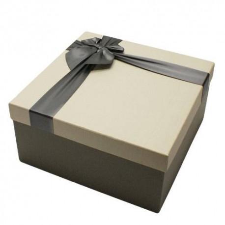 Coffret cadeaux bicolore gris foncé et gris perle 16.5x16.5x9.5cm - 5821p