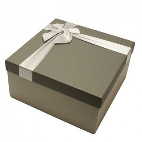 Coffret cadeaux bicolore gris clair et gris souris 16.5x16.5x9.5cm - 5827p