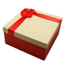 Coffret cadeaux bicolore rouge et écru 16.5x16.5x9.5cm - 5824p