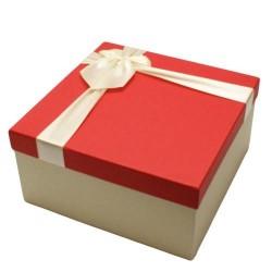 Coffret cadeaux bicolore écru et couvercle rouge 16.5x16.5x9.5cm - 5833p