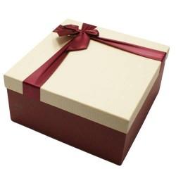 Coffret cadeaux bicolore rouge bordeaux et écru 16.5x16.5x9.5cm - 5830p