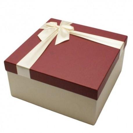 Coffret cadeaux bicolore écru avec couvercle rouge bordeaux 16.5x16.5x9.5cm - 5836p